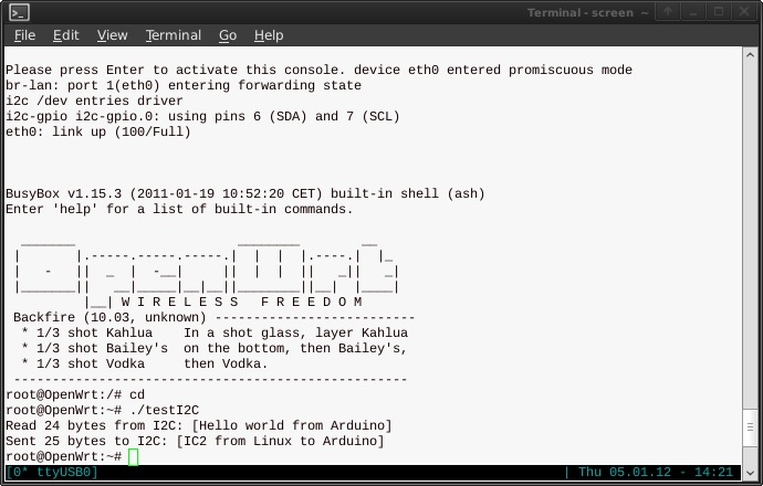 Connect NGW100 Linux (AVR32) to Arduino with I2C | Jkx@home